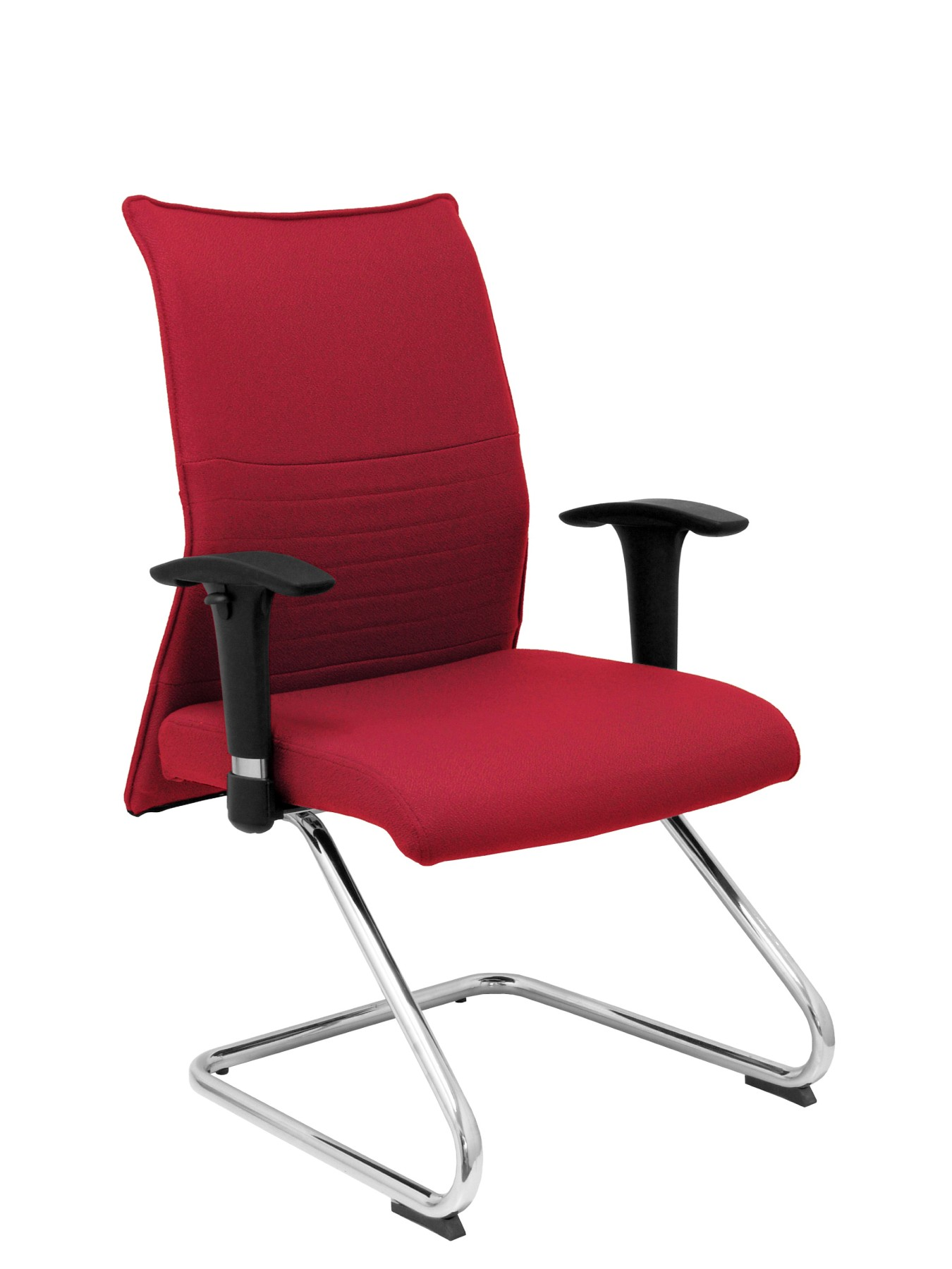 Armchair Confidante Ergonomic For Visits With Skate Chrome Up Seat And Backstop Upholstered In BALI Tissue Color Granat