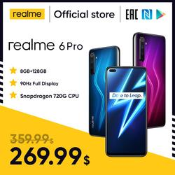 [Flash Sale Price $268.32]realme 6 Pro Mobile Phone 6.6inch 90Hz Display 64MP Cam 8GB 128GB Snapdragon 720G Smartphone Cellphone