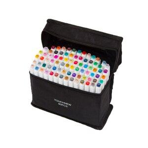 Художественный маркер Touchfive, 30/40/60/80/168 цветов, набор с двумя наконечниками для рисования манги, скетч, спиртовой фломастер, Офисная школа