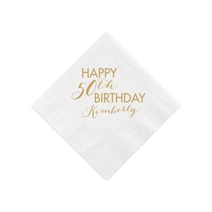 Персонализированные салфетки для дня рождения, на заказ 50th салфетки для дня рождения, 50th день рождения, Happy 50th, Milestone Birthday, 60th Birthday