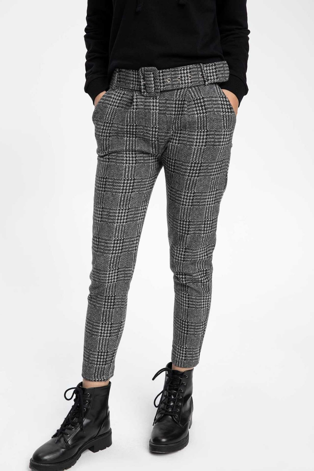 DeFacto Woman Autumn Stylish Grid Long Pants Women Pencil Pant Casual Fashion Female Bottoms Trousers-K6890AZ18WN