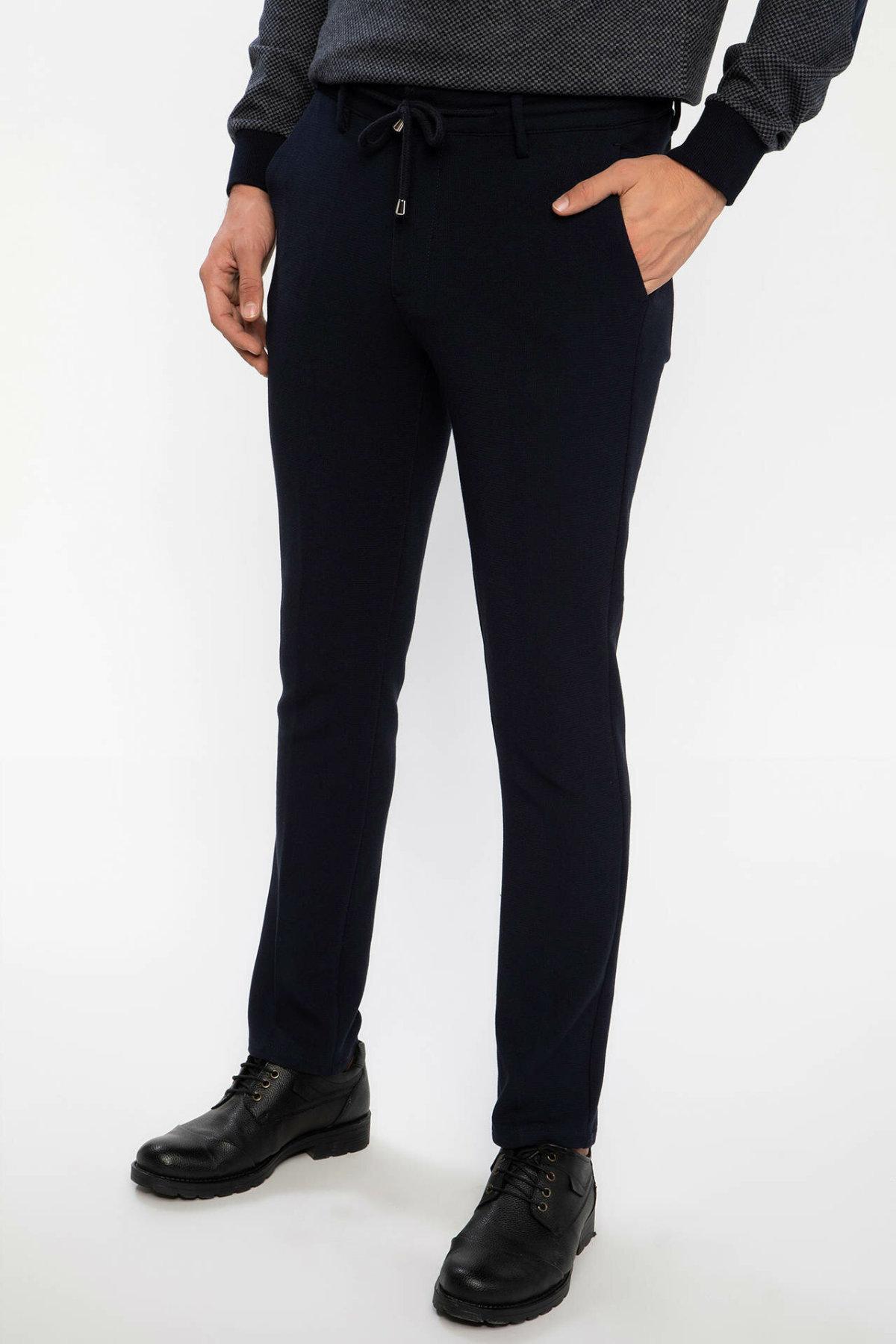 DeFacto All Match Mens Smart Casual Black Pants Adjustable Black Fit Long Pants Trousers-J0917AZ18AU-J0917AZ18AU