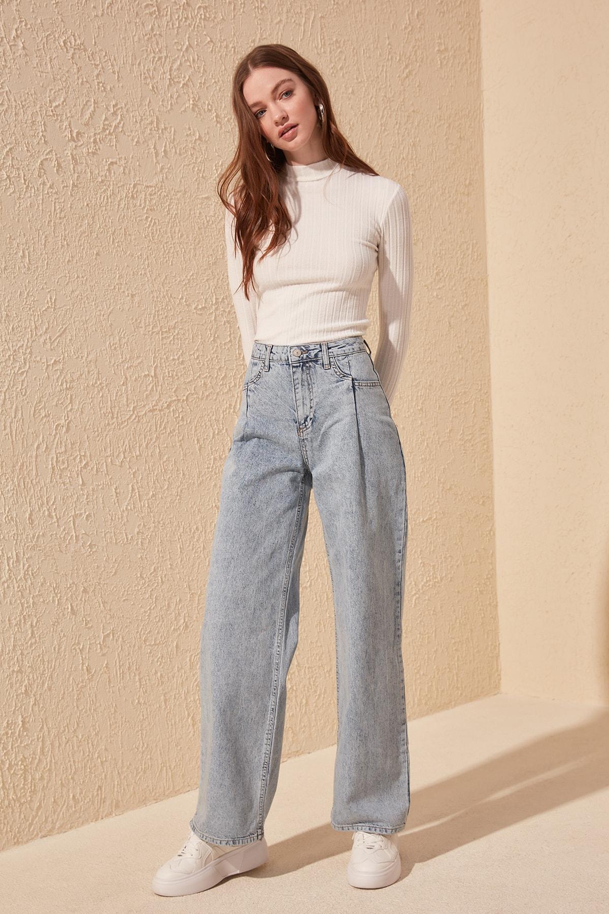 Trendyol Pocket Detail High Bel Wide Leg Jeans TWOSS20JE0143