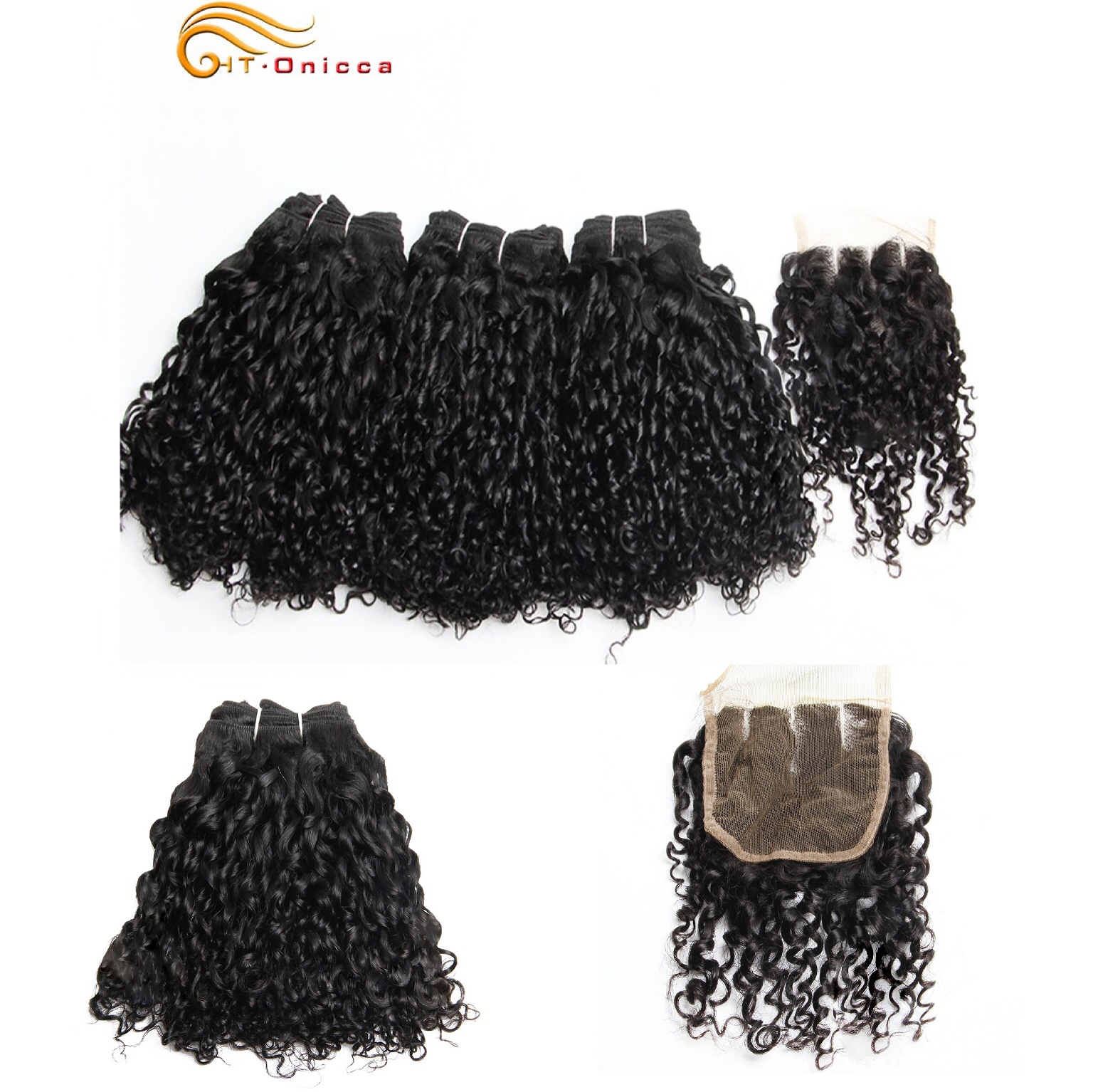 Pissy/Pixie Curls With Closure Jerry Curl Bundles 6Pcs With Closure In 12/14/16/18 Inch Double Drawn Brazilian Human Remy Hair