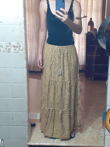 Boho Vintage Chic Leopard Print Long Skirt Women Fashion Elastic Waist Lace Up Tassel Summer Beach Skirts Casual Saia Mujer photo review