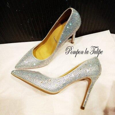 MNK 930035 Stylish Crystal Shiny Rhinestone Pointed Toe Elegant Pumps 2 6 8 10CM Heels Stilettos Fancy Party Wedding Women Shoes in Women 39 s Pumps from Shoes