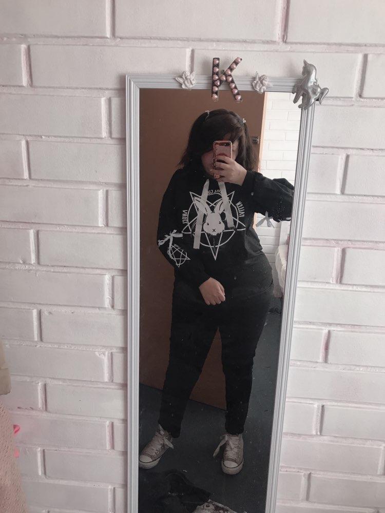Rabbit Pentagram Print Lace Up Women Fleeces Hoodies Harajuku Casual Loose Lolita Style Long Sleeve Tracksuit hoodie Sweatshirt photo review