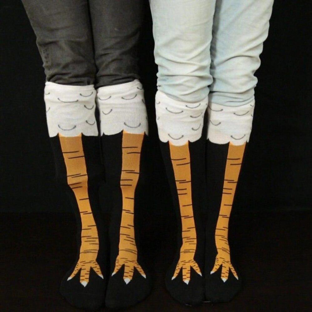 Носки женские с 3D-принтом курицы, забавные высокие носки до бедра с мультяшным 3d-рисунком, модные милые дамские носки с тонким носком для кос...