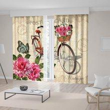 Cesta de bicicleta Vintage llena de rosas mariposa clásica tarjeta de edad Beige rosa marrón cortina impresa