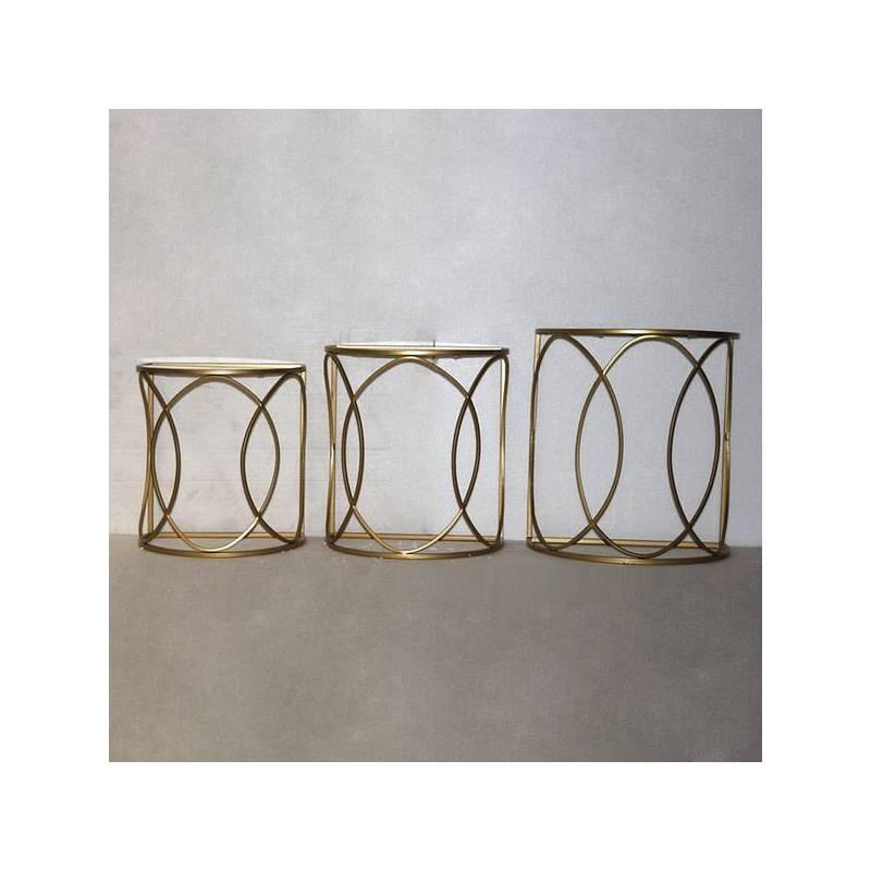 Set Of 3 Tables Golden (50x30x55 Cm)