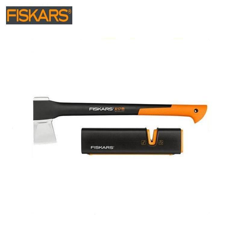 цена на Pitch - hand  X17 + sharpener universal 120740 Fiskars (120740)  heavy harvesting  Woodworking tools tomahawk dividing ax surviv