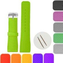 24 мм неоновые зеленые цветные силиконовые желе резиновые женские мужские часы ремешок