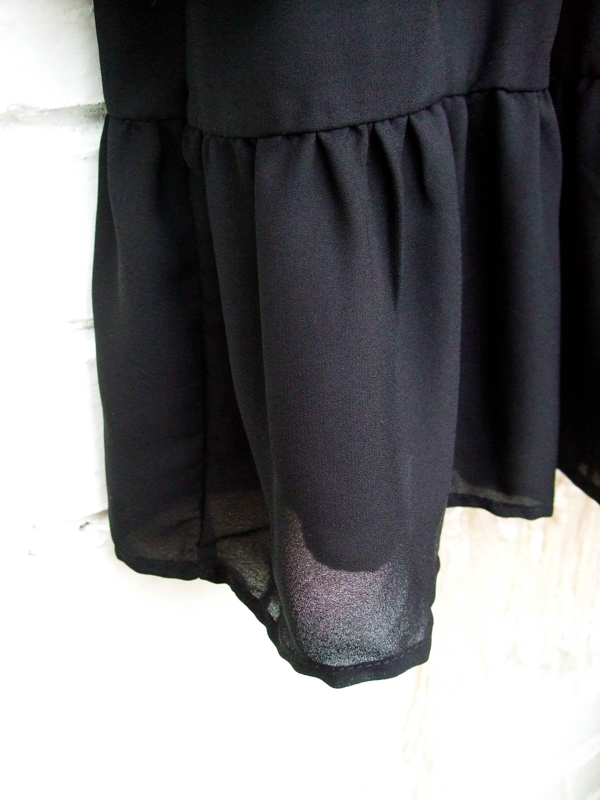 Hot 2019 autumn new fashion women's temperament commuter puff sleeve small high collar natural A word knee Chiffon dress reviews №6 342831