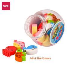 DELI Student Cute Eraser 1 Tube(20 pcs) Kawaii Lovely Animal Set Stationery Color School Office Erase Supplies Kids Gift