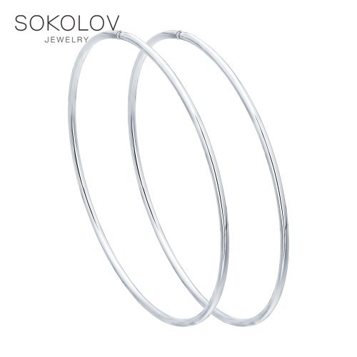 Congo Hoop Earrings SOKOLOV Silver Fashion Jewelry Silver 925 Women's Male