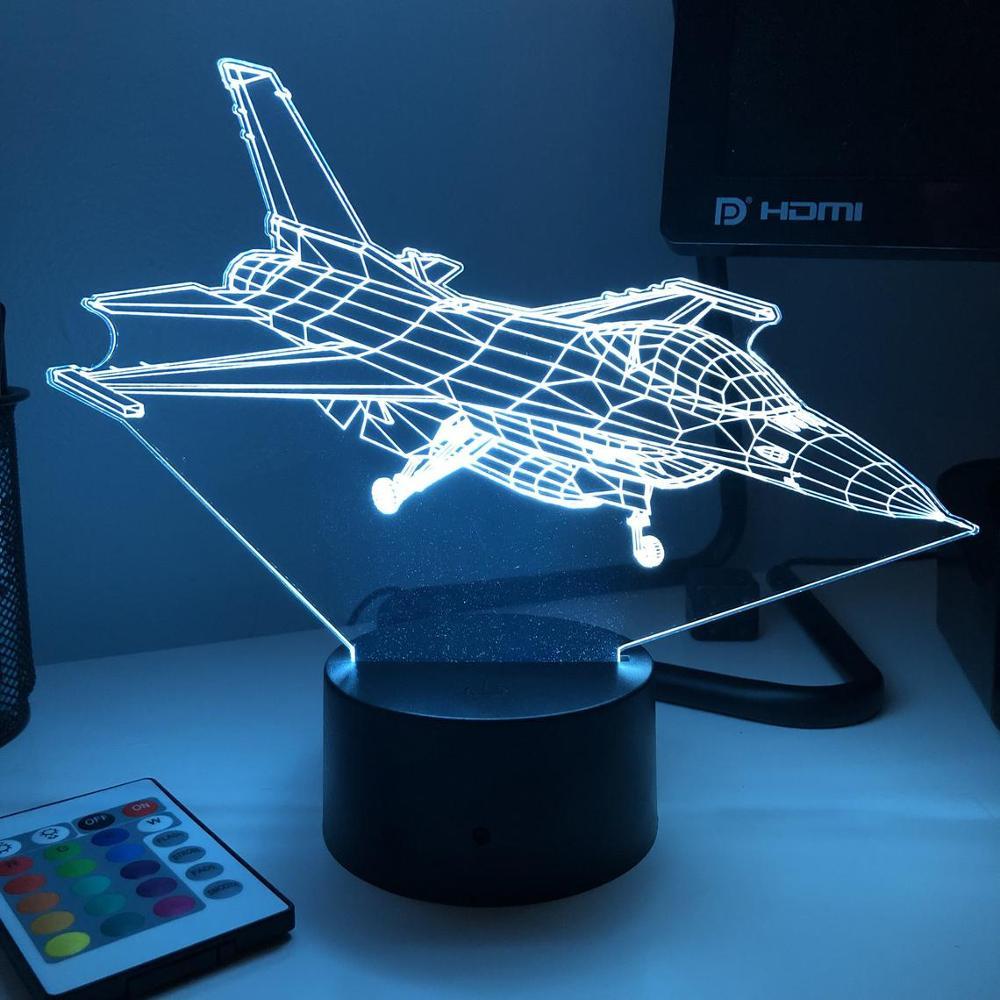 F-16 Fighting Falcon Jet Plane 3D Night Light LED Lamp Optical Illusion Lampara Creative Led Lighting Bedroom Decoration