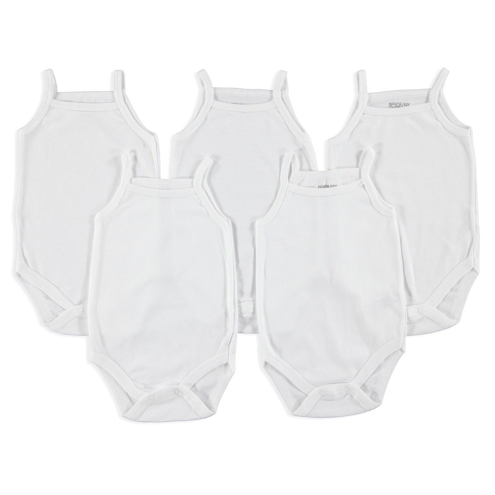 Ebebek HelloBaby Baby Sleeveless Rope Strap Bodysuit, White, 9 Months - 5 Pack