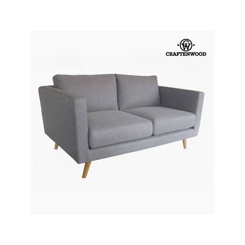 2 Seater Sofa Pine Wood Gray Velvet (148x88x83 Cm) By Craftenwood