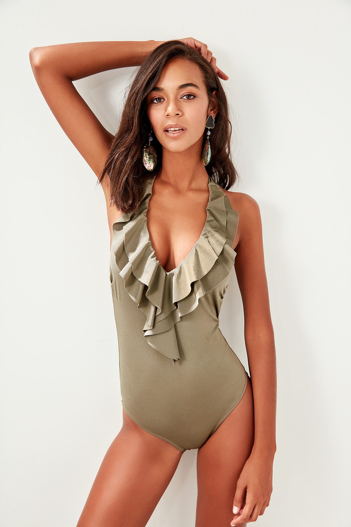 Trendyol Flounces Halter-neck Swimwear TBESS19HE0053