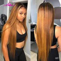 Ali Coco-pelucas de cabello humano liso brasileño, color 1B, 30, miel, marrón, prearrancado, nudos blanqueados