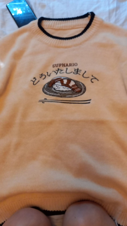 Harajuku E-boy E-girl Knitted Sweater with sushi embroidery photo review