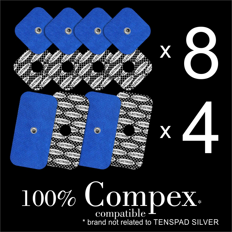 TENSPAD SILVER - 12 Electrodes For COMPEX (8 Electrodes 50x50mm + 4 Electrodes 50x100mm With 1 SNAP)