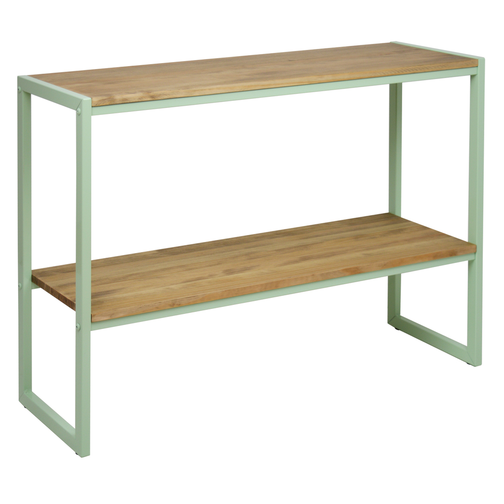 Console ICub With Shelf Limited Edition-140X32X75 Cm-Vintage Effect-Mint Green