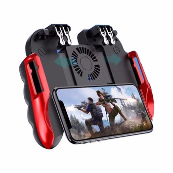 H9 Six Finger Pubg Controller Gamepad Joystick Pubg Mobile Trigger L1R1 Shooter Joystick Game Pad Phone Holder with Cooler Fans