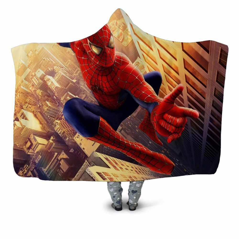 Spiderman Batman Superhero Printed Plush Hooded Blanket For Adults Kid Warm Home Wearable Double layer Fleece Throw Blankets