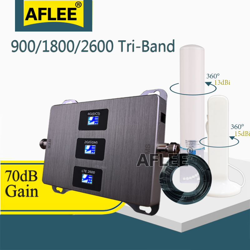 New!! 900 1800 2600 Tri-Band Cell Phone Cellular Amplifier GSM Repeater 2g 3g 4g Mobile Signal Booster GSM DCS LTE 4G Repeater