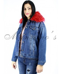 JACKET COWGIRL Hair Red Jacket Womens fashions Denim Color With Hair Red Parka Casual