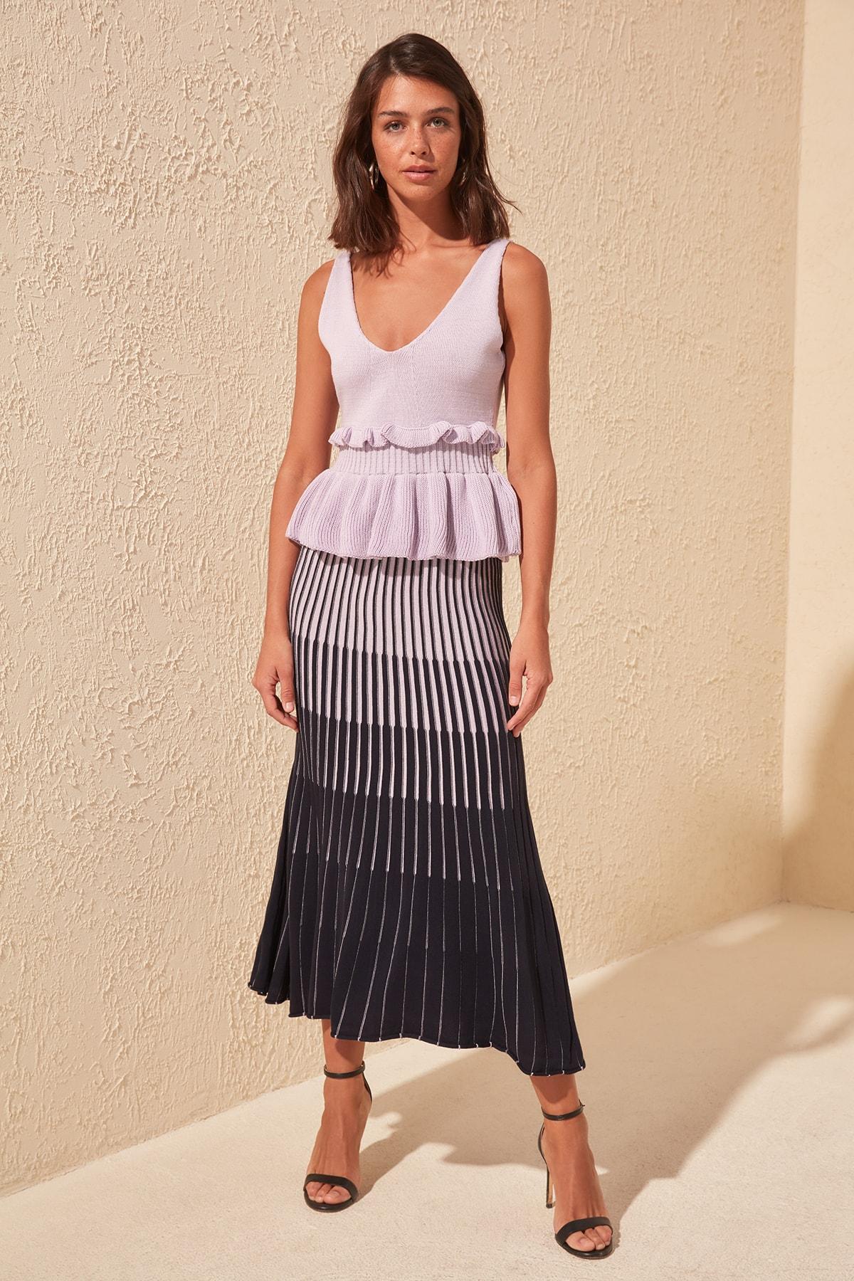 Trendyol Lilac Striped Knitwear Skirt TWOSS20ET0195