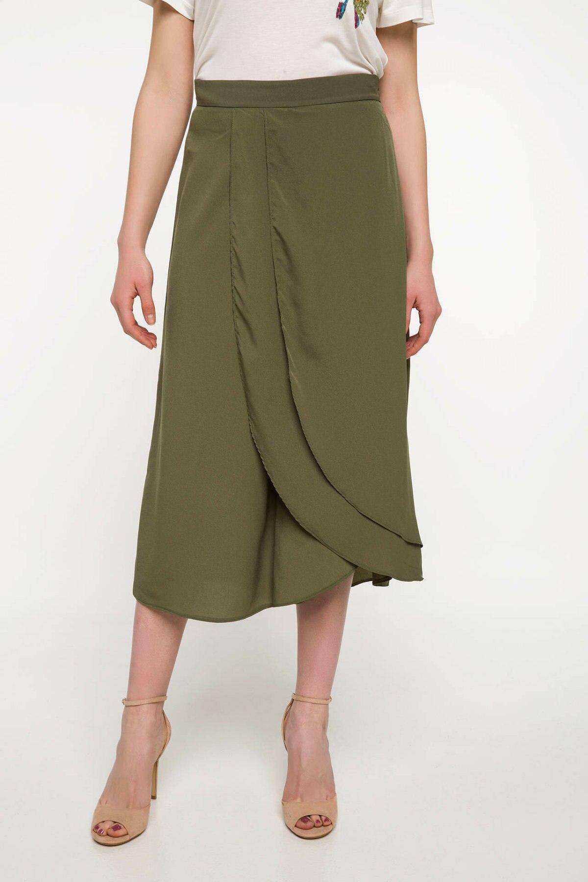 DeFacto Ladies Casual Trousers Female Fashion Comfort Wide-leg Pants Pure Color Crop Pant Loose Simple New - J1124AZ18SP