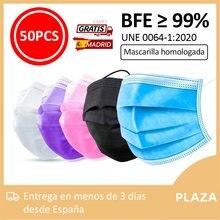 50 -100 Uds Mascarilla higienica tapaboca mascara homologada negro blanco rosa lila con envio desde españa mask666