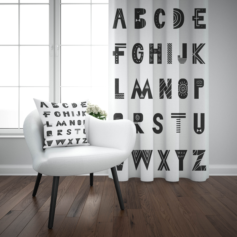 Else Black White Alphabet Letters Educational 3d Print Kids Baby Children Window Panel Set Curtain Combine Gift Pillow Case