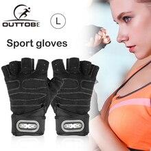 Outtobe 1 пара Велоспорт фитнес-перчатки тяжелая атлетика тренажерный зал половина Finger дышащий для тренировки запястье оберните спортивные