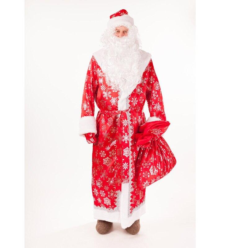 Костюм Деда Мороза с бородой со снежинками красный 48 56|Праздничные костюмы| | АлиЭкспресс