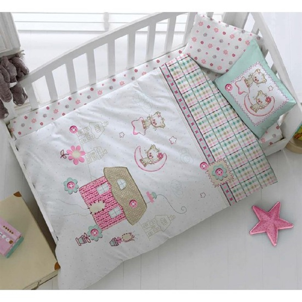 Made In Turkey CATS Infant Baby Crib Bedding Bumper Set For Boy Girl Nursery Cartoon Animal Baby Cot Cotton Soft Antiallergic