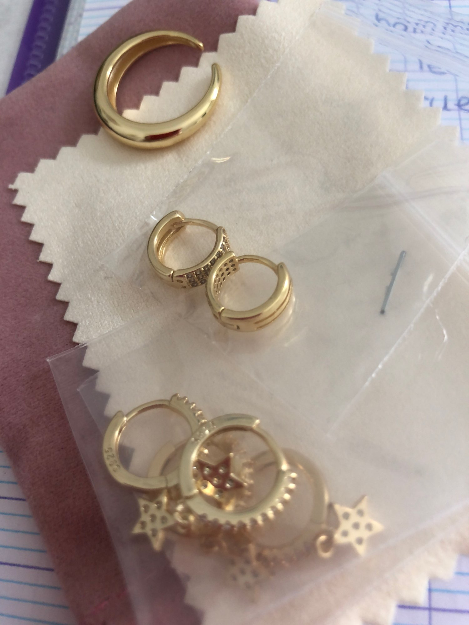 ANENJERY 925 Sterling Silver French Punk Hip-Hop Geometric Small Hoop Earrings for Women Gold Silver Party Jewelry Accessories photo review