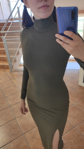 Women's Ribbed Knitted Turtleneck Dress