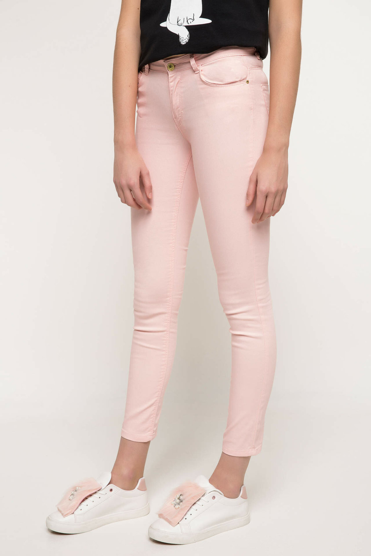DeFacto Woman Spring Pink Color Long Pants Women Casual Skinny Bottoms Female Fit Body Slim Bottoms Trousers-I3433AZ18SP