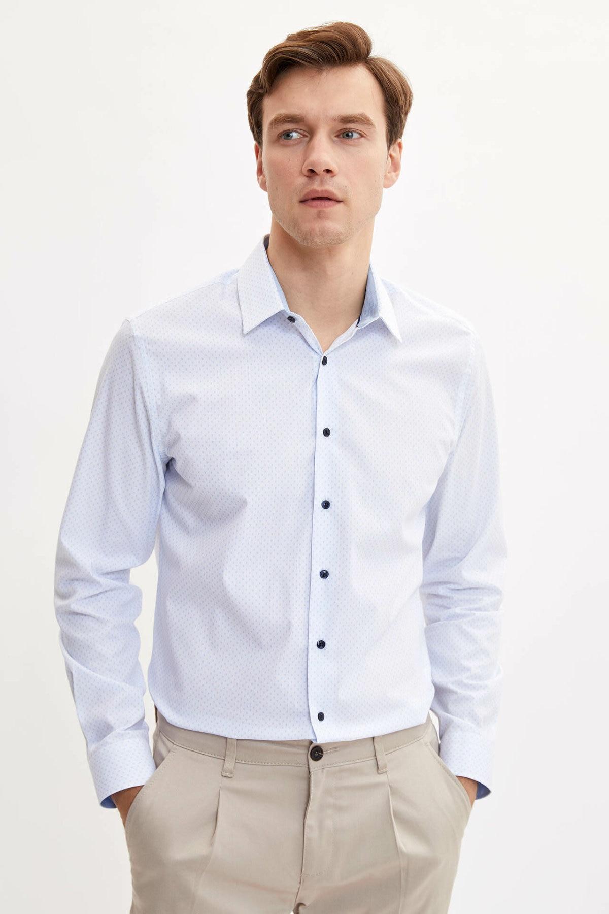 DeFacto Men Fashion Formal White Solid Lapel Collar Shirt Woven Top Long Sleeve Shirt Office Business Wear Top Shirt-L5420AZ19AU