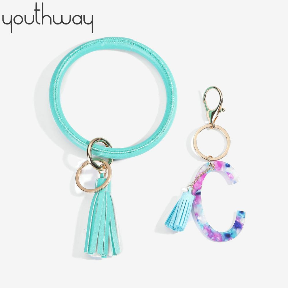 2 Pcs Wristlet Keychain Bracelet Bangle Color Resin Initial Alphabet Large Circle Round Keyring Chain Leather Tassel Bracelet