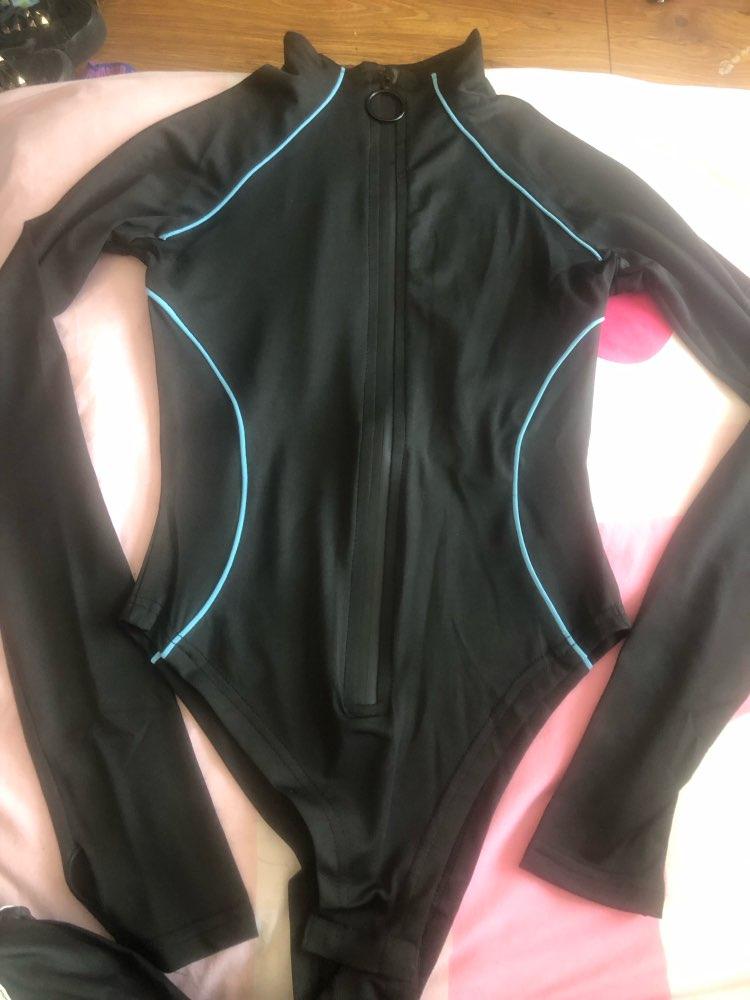 Long Sleeve Reflective Stripe Line Patchwork Zipper Bodycon Bodysuit Autumn Winter Women Streetwear Club Body photo review