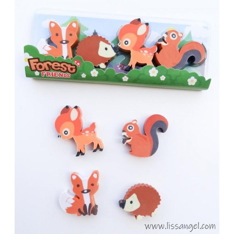 Pack 4 Erasers Forest Animals