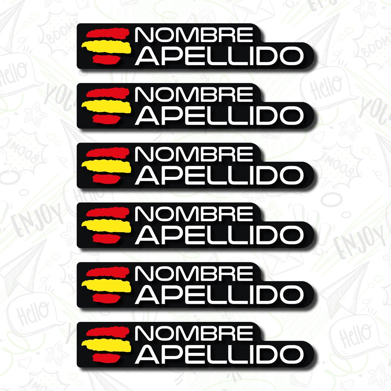 6x Bandera Nama Personalizable Pegatina Bandera Stiker Bicicleta Casco Moto Patin BTT Stiker Personalizable title=