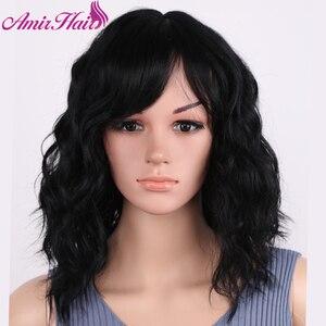 Image 3 - アミールブロンドカーリー合成かつら送料無料でサイド前髪ミディアムの長さ耐熱ファイバーコスプレウィッグアフリカアメリカの女性