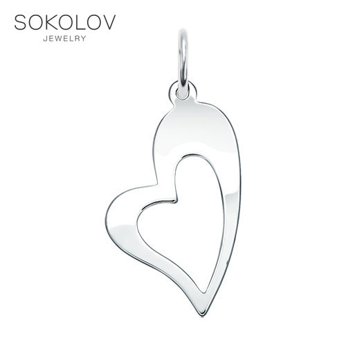 Suspension Love SOKOLOV Silver Fashion Jewelry 925 Women's Male, Pendants For Neck Women