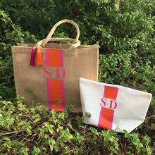 Sacola listrada feita sob encomenda da praia do monogrammed, personalize o nome do monograma iniciais sacolas da cesta da mãe do tote da serapilheira