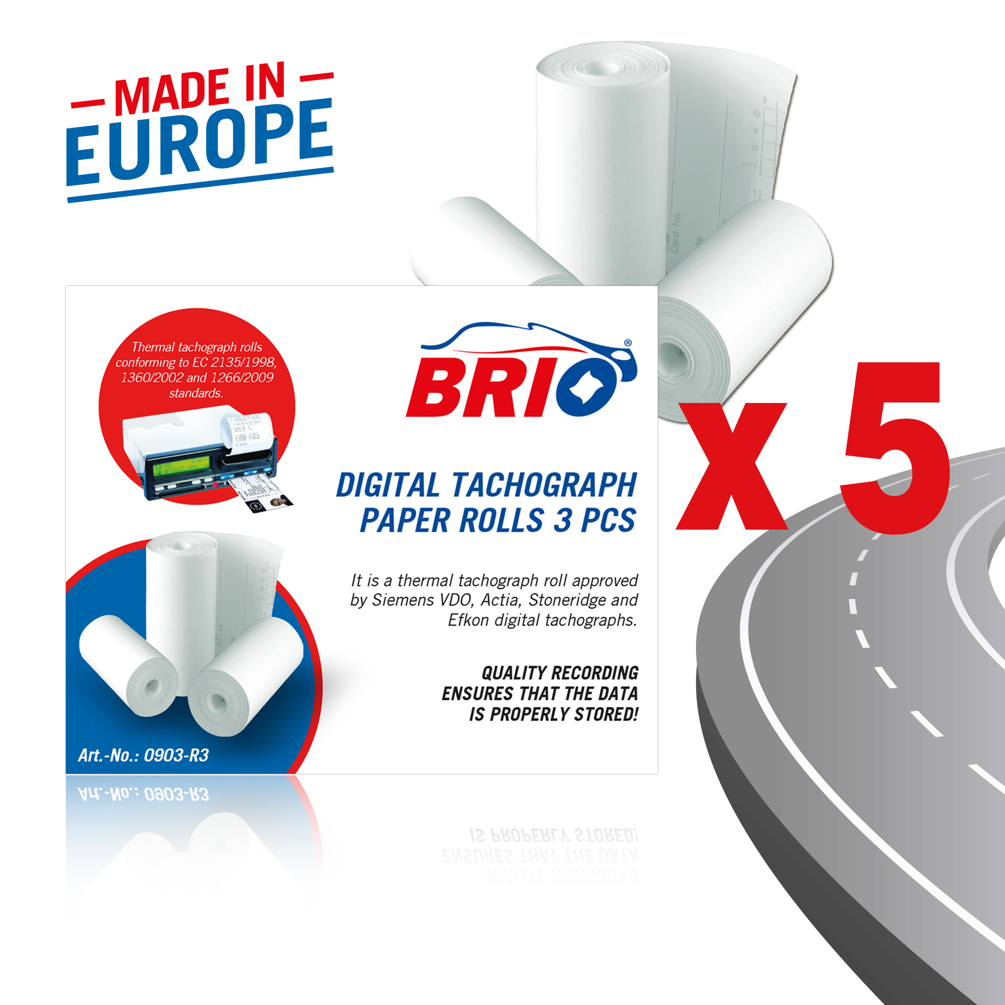 Brio Digital Tachograph Termal Paper Rolls Resistant to UV, Temperatures and Humidity Homologation CEE E1 220 EU Standard Bundle